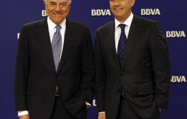 Francisco González, presidente del BBVA, y Ángel Cano, Consejero Delegado, durante la presentación de los resultados de la entidad