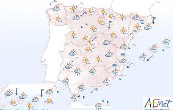 Temperaturas en descenso y precipitaciones débiles en Cantábrico y Andalucía