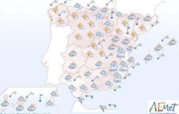 Precipitaciones persistentes y nevadas en Levante, sureste y centro península
