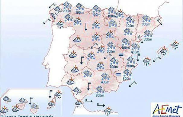Mañana, nevadas en cotas bajas del Cantábrico, Levante y sureste peninsular