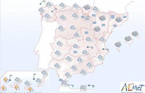 Predominio de cielo nuboso con lluvia en Galicia y otras zonas del noroeste