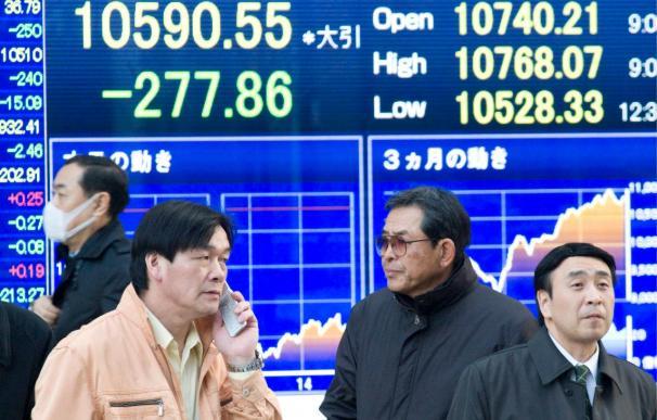 El índice Nikkei sube 61,55 puntos, el 0,60 por ciento, hasta 10.313,63 puntos