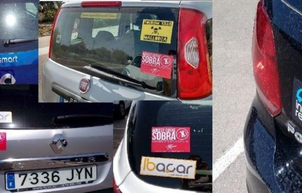 "Arran marcan vehículos de alquiler en Mallorca con adhesivos de ""este coche sobra"""