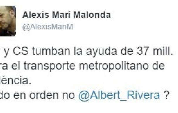 Diputado de Cs en Valencia critica que su partido vote contra ayudas al transporte en esta ciudad y apoye el cupo