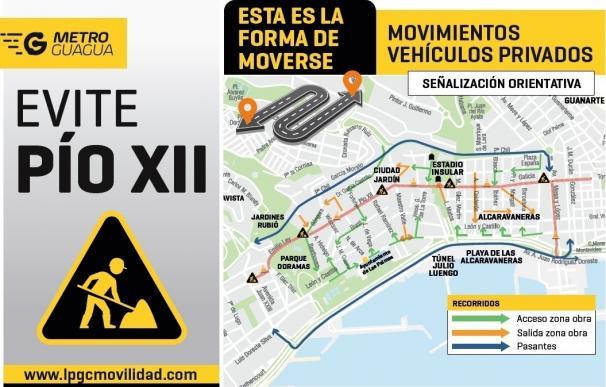 Las obras de la MetroGuagua de Las Palmas de Gran Canaria comienzan este lunes en la calle Pío XII