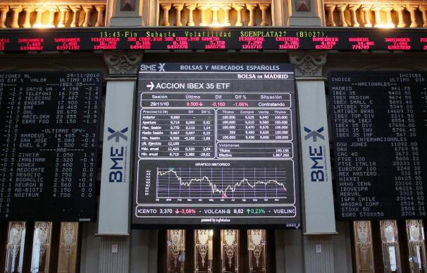 La Bolsa española mantiene a mediodía una subida del 0,42 por ciento en el IBEX 35