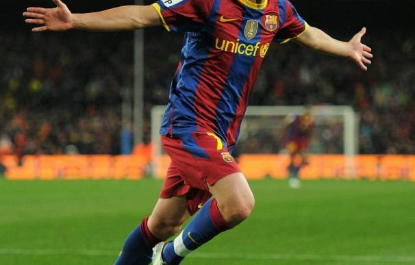 Villa celebra uno de sus goles al Real Madrid