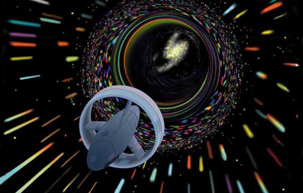 Representación de una nave viajando a través de un agujero de gusano. (NASA)