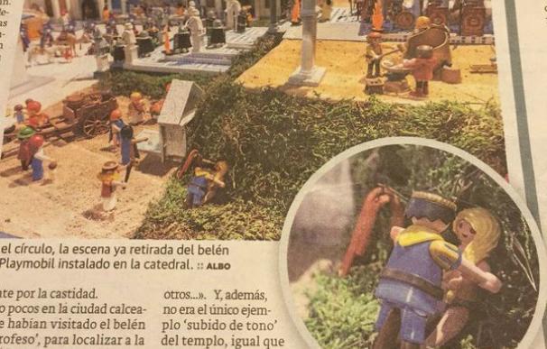 Detalle de las figuras del belén retiradas en la catedral de Santo Domingo de la Calzada. (Pablolobo22 / Twitter)