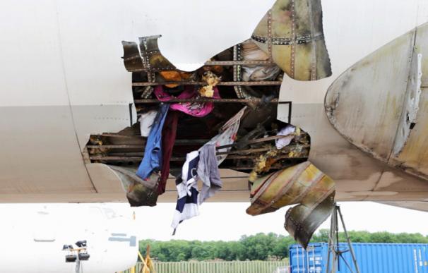 Imagen del fuselaje de un avión en el que ha explotado una carga en la bodega. (University of Sheffield)