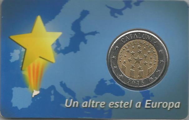 """Prueba de la moneda """"Catalunya hacia Europa - Otra Estrella en Europa"""""""