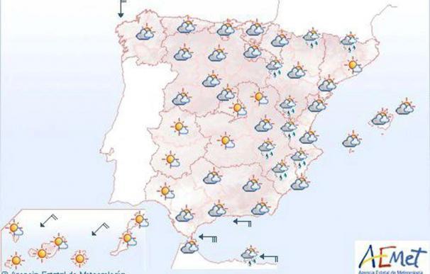 Mañana el cielo estará nuboso y habrá chubascos débiles