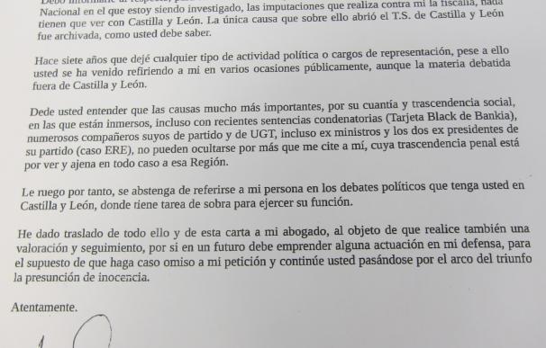 """Tudanca desvela una """"carta cariñosa"""" de Merino con la advertencia de acciones legales si habla de él y corrupción en CyL"""