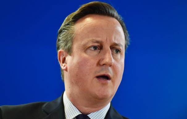British Prime Minister David Cameron holds a press