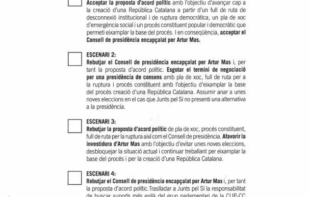 La CUP votará mañana en asamblea si quiere a Mas y un plan de choque supeditado a unos Presupuestos
