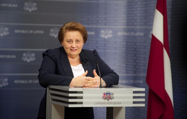 Latvian Prime Minister Laimdota Straujuma gives a