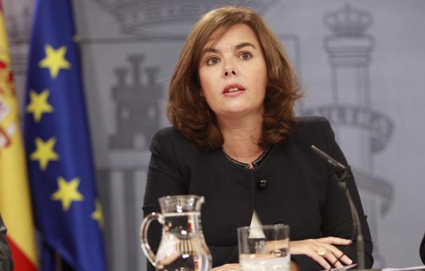 Soraya Sáenz de Santamaría durante la rueda de prensa del Consejo de Ministros