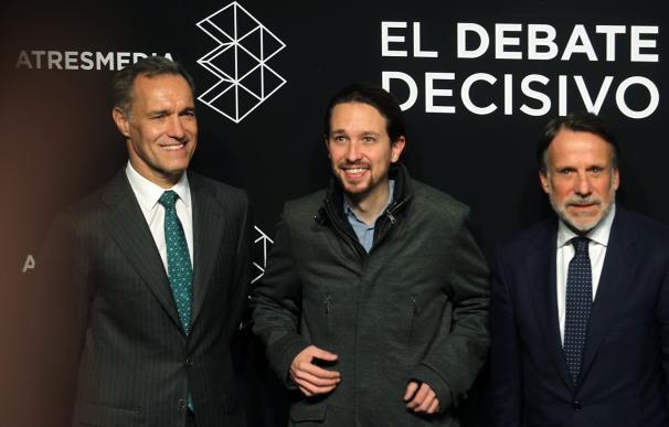 Pablo Iglesias ha sido el primer candidato en llegar a los estudios de Atresmedia (Foto: José González)