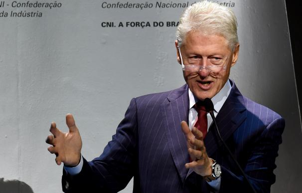 Former US President Bill Clinton speaks during the