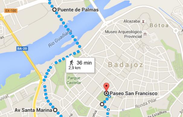 Recorrido en la ciudad de Badajoz