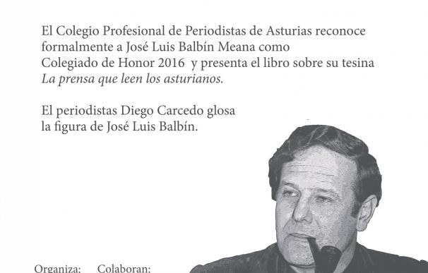 José Luis Balbín será nombrado este martes Colegiado de Honor de los Periodistas de Asturias