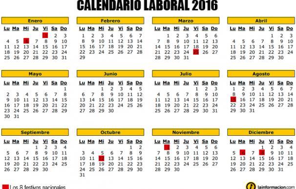 El calendario laboral de 2016 tendrá más puentes, en marzo el primero