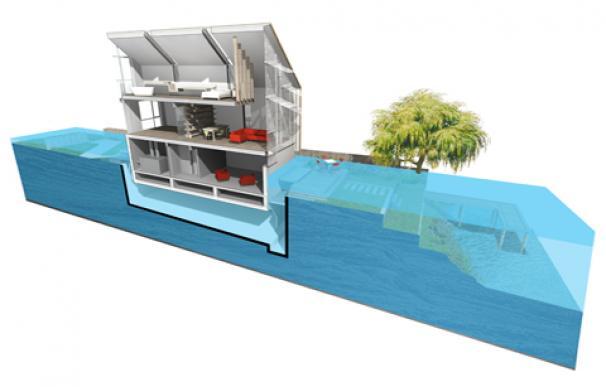 """Uno de los diseños de casa """"anfibia"""" de Baca Architects"""