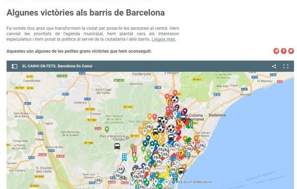 BComú repartirá 200.000 mapas con las políticas impulsadas hasta mitad de mandato