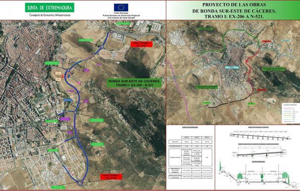 La Junta autoriza por 33,4 millones las obras del tramo de la EX-206 a la N-521 de la Ronda Sur-Este de Cáceres