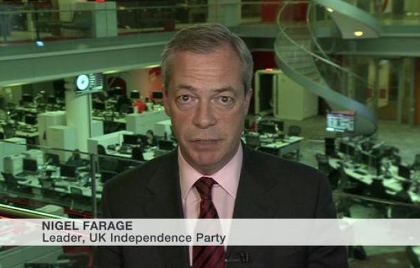 El líder de UKIP, Nigel Farage, entrevistado en la BBC