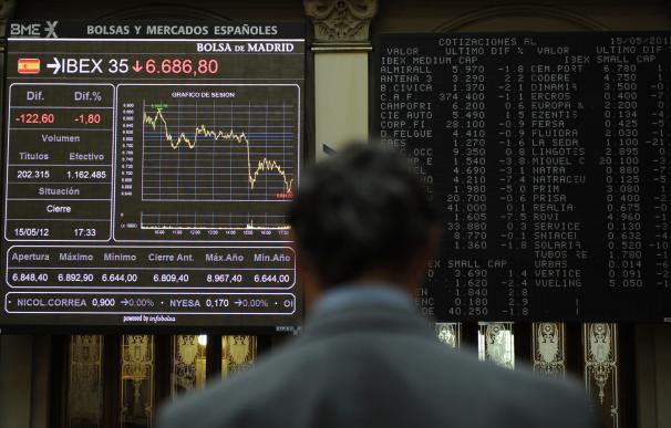 Imagen de archivo de un panel de la Bolsa madrileña
