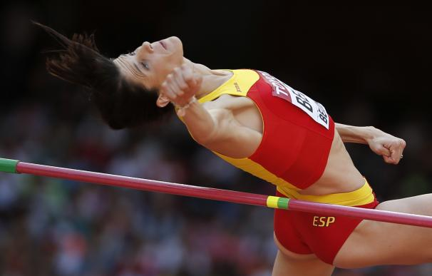 Spain's Ruth Beitia competes in the qualifying rou