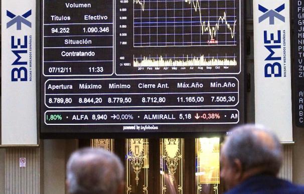 El IBEX desfallece al mediodía y cae el 0,67 por ciento a la espera del BCE
