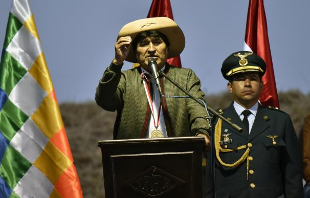Bolivian President Evo Morales Ayma delivers a spe
