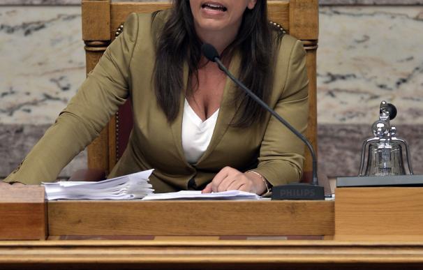 Greek Parliament President Zoe Kostantopoulou spea