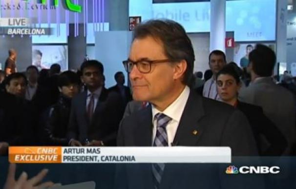 Artur Mas, en una entrevista en la cadena CNBC