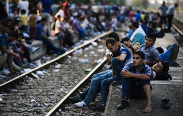 Inmigrantes esperan un tren que les lleve hasta Hungría en la ciudad fronteriza de Gevgelija en Macedonia