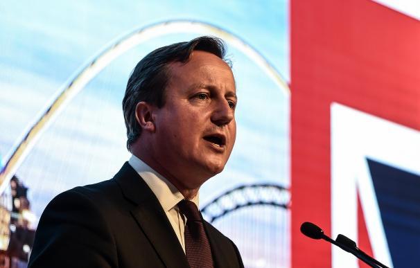 Britain's Prime Minister David Cameron addresses a