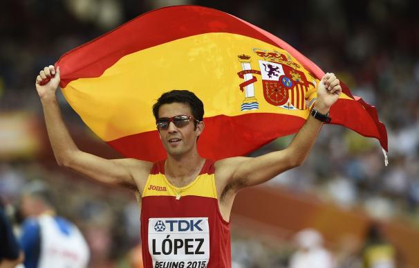 Spain's Miguel Angel Lopez celebrates after winnin