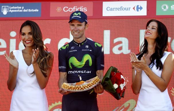 Alejandro Valverde celebra su victoria en la cuarta etapa de La Vuelta