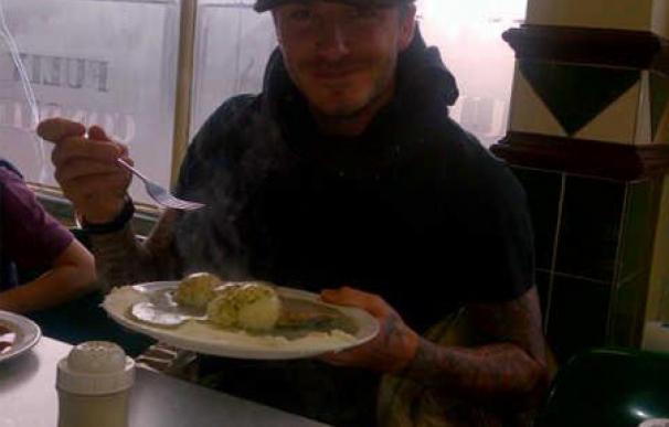 David Beckham disfruta de su plato favorito