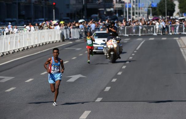 Eritrea's Ghirmay Ghebreslassie competes in the fi