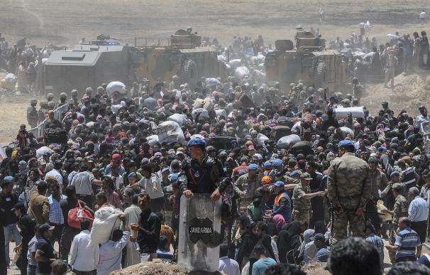 Refugiados sirios esperan transporte después de cruzar hacia Turquía desde la ciudad siria de Tal Abyad
