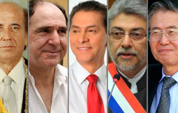 Pérez, Bucaram, Gutiérrez, Lugo y Fuijimori.