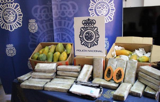La Policía Nacional se incauta de 32 kilos de cocaína ocultos en un cargamento de papayas
