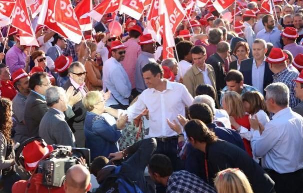 Sánchez, hoy, a su llegada al mitin de cierre de campaña.