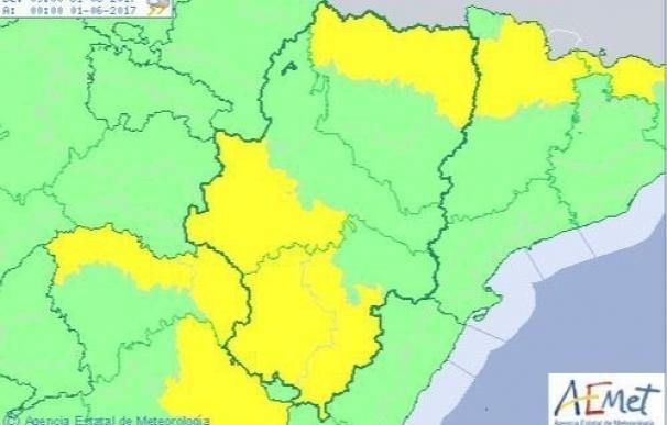 Aviso amarillo por tormentas y lluvias en varias zonas de Aragón