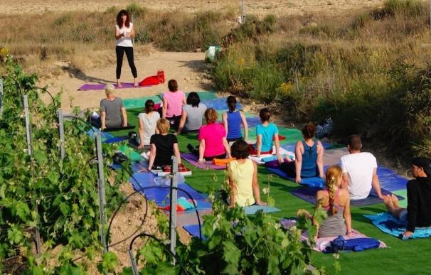 Más de 30 personas disfrutan de la experiencia del yoga entre viñedos en la Bodega Monastrell