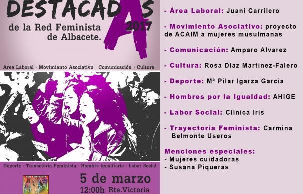 La periodista Amparo Álvarez, la atleta María Igarza o Clínica Iris, 'Destacadas 2017' para la Red Feminista de Albacete