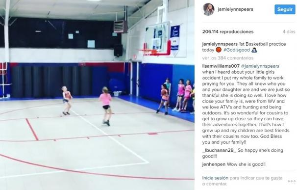 La sobrina de Britney Spears ya puede practicar deporte tras el accidente